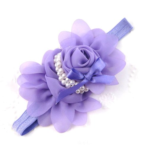 Generic Baby Girls Chiffon Pearl Headband Rose Flower Hairband Photography Prop Band(Purple) front-106056