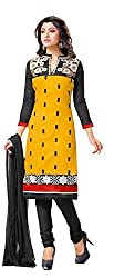 Exquisite & Beyond Womens Chanderi Cotton Embroidery Unstitched Salwar Suit _ch10_yellow