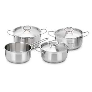 Set de menaje de cocina ollas de acero inoxidable 7 piezas for Menaje acero inoxidable