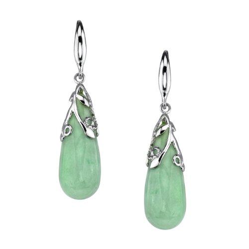 Sterling Silver, Green Jade Teardrop Shepherd Hook Earrings