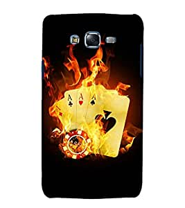 printtech Flaming Casino Cards Back Case Cover for Samsung Galaxy E7 / Samsung Galaxy E7 E700F