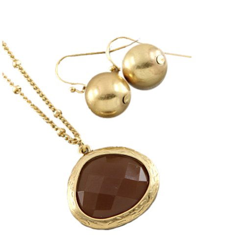 Fashion Necklace and Earring Set with Gold Color Plated Necklace With Brown Stone Pendant and Earrings