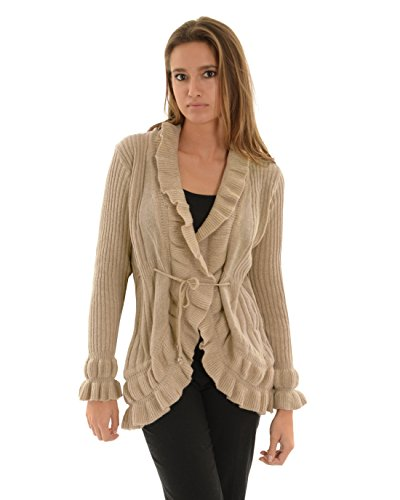 Womens Open Front Cardigan Tan Ribbed Sweater Ruffle Trim Tie Belt Long Sleeves Sizes: Small