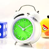 """Generic 3"""" Solid Metal Fresh Letter 2 Double Bell Desk Table Alarm Clock (Green)"""
