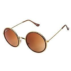 Chevera Bolt Brown Round Sunglasses