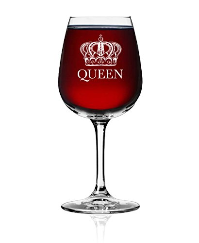 Queen Wine Glass - Wine Glasses - Vino Glass - Glassware - Drinkware - Great Gift for, Weddings, Newlyweds, Mothers, Brides, Bachelorette, Engagement, Party Favors, Bridal Shower, Girlfriend (1 Pack)