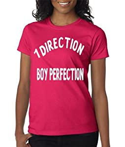 One Direction 1D T-Shirt Hot Pink Fuchsia White Letters Junior Tween Teen Size Small or Medium