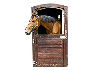 wandsticker sticker wandaufkleber f r kinderzimmer pferd stallt r schaut guckt 85x57cm amazon. Black Bedroom Furniture Sets. Home Design Ideas