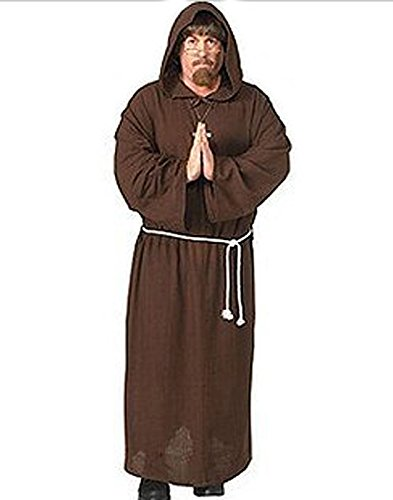 HDE Medieval Monty Brown Monk Robe Mens Halloween Theater Costume Friar Tuck
