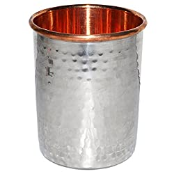 Handmade Drinking Stainless Steel Inside Copper Glass from India