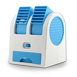 New Frabgrance Adjustable Angles Dual Air Outlet Fan USB Electric Air Conditioning Fan Cooling Desktop Portable Bladeless Blower Mini Cooler Fan with USB Socket Battery and Safety Switch Chip (Blue)