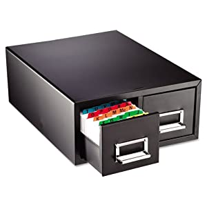 STEELMASTER Medium Double Card File Drawer, Fits 4 x 6 Cards, 3000 Card Capacity, 14.44 x 6.19 x 16 Inches, Black (263F4616DBLA)