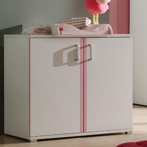 Wickelkommode Wickelauflage Wickeltisch rosa weiß Babymöbel Babyzimmer Kommode