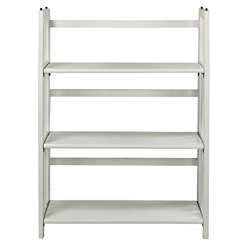 Casual Home  3 Shelf Folding Stackable Bookcase, White White 3 Shelf Bookcase