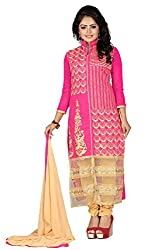 Zombom Pink Cotton Embroidered Un-stitched Salwar Suit