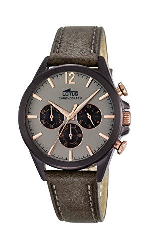 Lotus Men's Quartz Watch with Grey Dial Chronograph Display and Grey Leather Strap 18200/1
