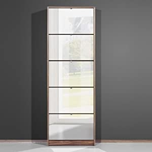 Tall Mirrored Walnut Shoe Cabinet With Five Drawers 3614