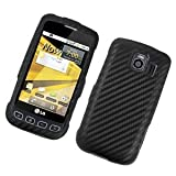 Eagle Cell PILGLS670F401 Stylish Hard Snap-On Protective Case for LG Optimus S/Optimus U/Optimus V LS670 - Retail Packaging - Black Carbon Fiber