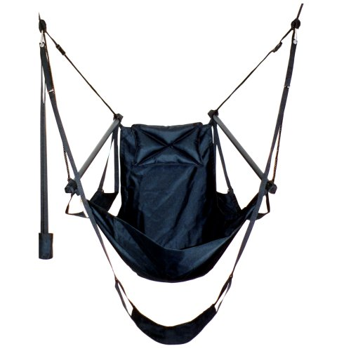 Green Eggs and Hammocks Con2our Dual-Point Hammock Chair with Adjustable Footrest, Armrests, Pillow, and Drink Holder, Black