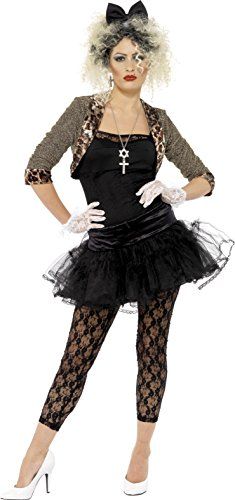 Smiffy's Women's 80S Wild Child Costume Jacket Top Tutu Leggings Gloves and Headband, Black/Brown, 1X