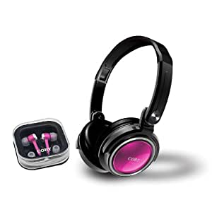 Coby CV215PNK Deep Bass Stereo Headphones and Earphones (Pink)