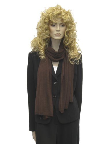 Cashmere Wrap/Shawl/Stole (Knitted Pure Cashmere Shawl) From Cashmere Pashmina Group- Coffee front-967912