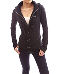 PattyBoutik Smart Black Hoodie Zip Toggle Closure Spring Jacket