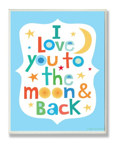 The Kids Room by Stupell I Love You to the Moon and Back on Blue Background Rectangle Wall Plaque