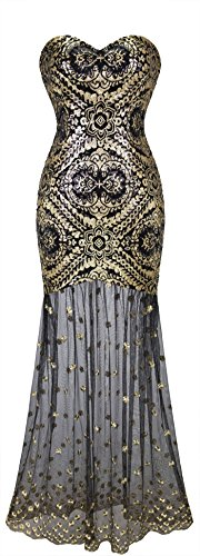 Sleeveless V-Neck Sequins Lace Up Patterned Prom