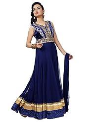 Ritu Creation Women's New Party Wear Net Stitched Fancy Floor Touch Anarkali Suit With Yok Daimond Work