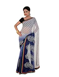 B3Fashion Elegant White And Blue Georgette Saree With Printed Buti All Over The Saree With Complementing Zari...
