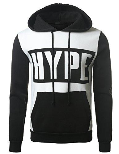 Urbancrews Mens Hipster Hip Hop Hype 91 Underdog Pullover Hoodie Black Medium