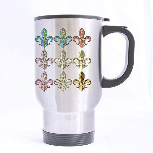 Fleur De Lis Logo Stainless Steel Custom Travel Mug (Sliver)(14 Ounce)