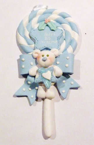 Ornament, Christmas - Baby, Blue Lollipop, Bear, Personalized