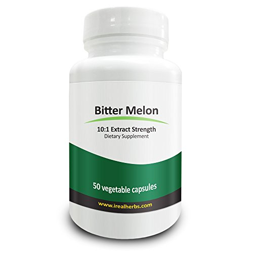 Real Herbs Bitter Melon Extract 7500mg Dietary Supplement - 50 Vegetarian Capsules (Melon Extract compare prices)