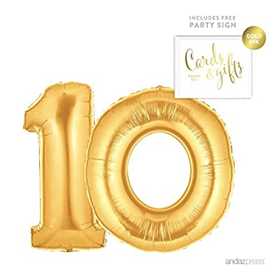Andaz Press Giant Foil Balloons Party Kit with Sign 10 to 100