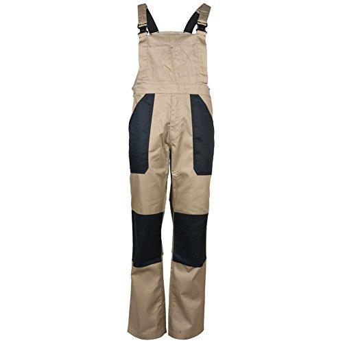 Mens salopette con bretelle regolabili lavoro pesante in Twill e pinza per un totale di pantaloni Marrone marrone
