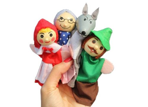 4X Finger Puppets . Children's storytelling helper, hand puppets .Little Red Riding Hood TY041