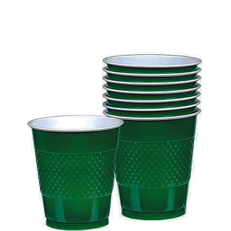 Forest Green Plastic Cups 20ct