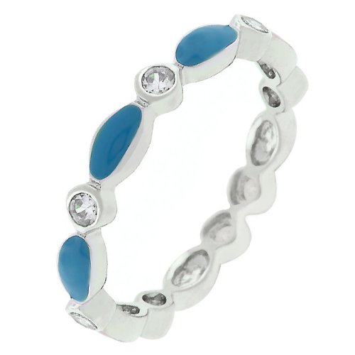 Round Cut Cubic Zirconia CZ and Blue Topaz Enamel Silver Tone Promise Ring (Size 5,6,7,8,9,10)