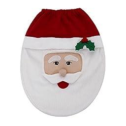 Susenstone® Snowman Toilet Seat Cover and Rug Bathroom Set Christmas Decoration