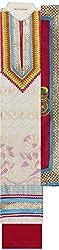 Preety Women's Silk Semi Stitched Dress Material (PW066, White)