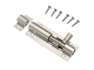 DOOR BOLT BARREL SLIDE LOCK 63MM 2 1/2 INCH ALUMINIUM + SCREWS ( pack