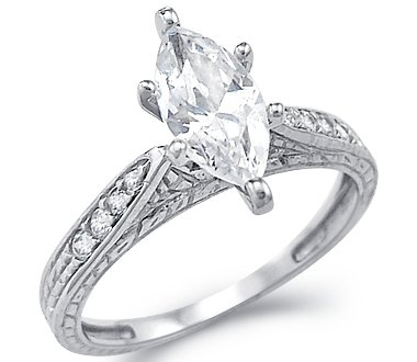 white gold with cubic zirconia rings