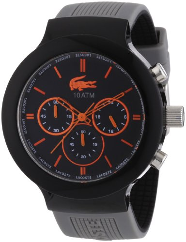 Lacoste Borneo Chronograph Black Dial Grey Silicone Mens Watch 2010655