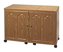 "Hot Sale Sewingrite Ultimate Sew And Serge Credenza With Storage Drawers, Electric Lift 45"" W Rustic Maple"