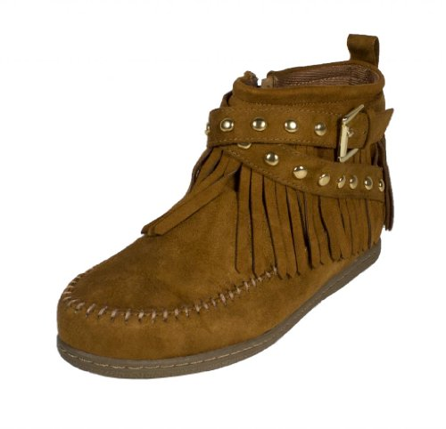 Dahlia! By Soda Tribal Inspired Moccasin High Top With Side Zipper And Double Studded Criss Cross Straps, Tan Faux Suede, 6.5 M