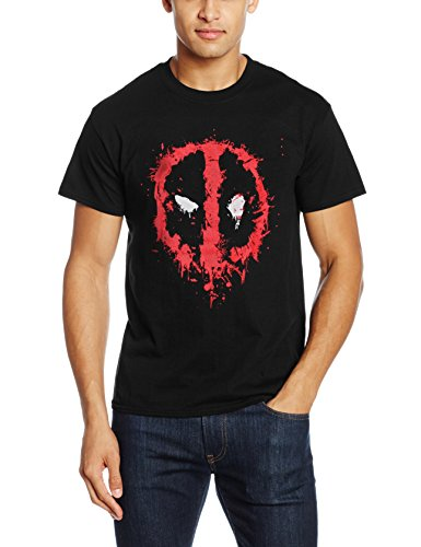 Marvel Deadpool Splat Face, T-Shirts Uomo, Black, Small