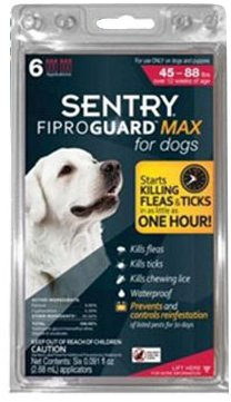 FiproGuard Max Flea and Tick Control for Dogs 45 - 88 Pounds, Red