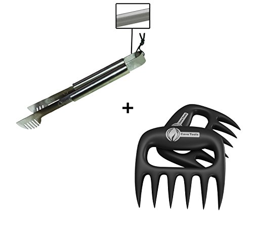 Grill Tongs + Pulled Pork Shredder Claws - STRONGEST BBQ MEAT FORKS - Shredding Handling & Carving Food - Claw Handler Set for Pulling Brisket from Grill Smoker or Slow Cooker - BPA Free Barbecue Paws (Slow Cooker Bag Non Electric compare prices)